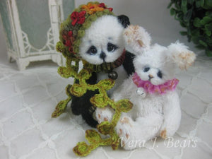 "SOLD 3.5"" Miniature Artist Panda Bear Handmade by Vera J.Bears"