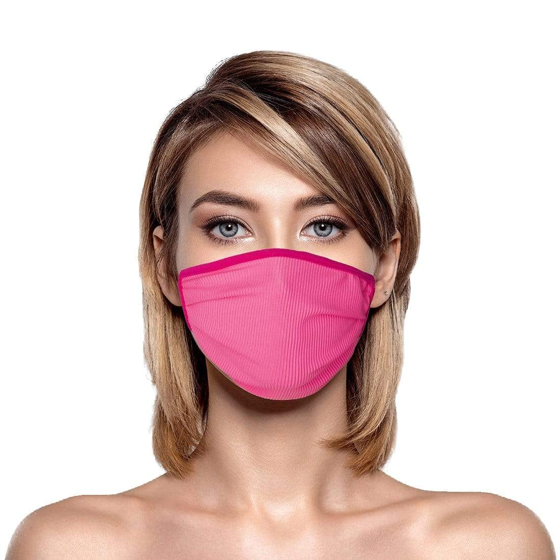 Neon Pink Rib Face Mask