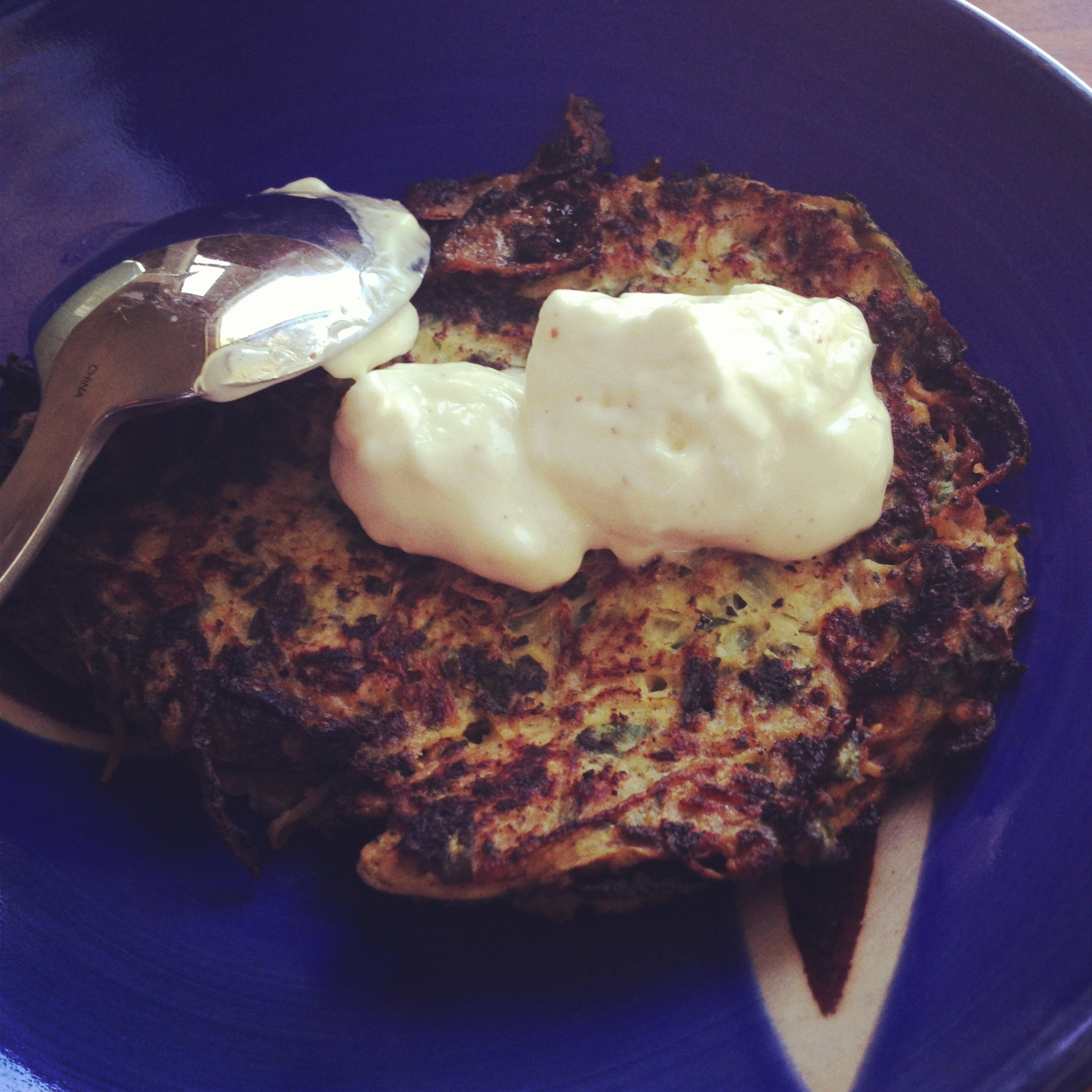 zucchini cakes & home made mayonnaise!