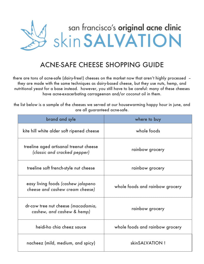 acne-safe cheese guide
