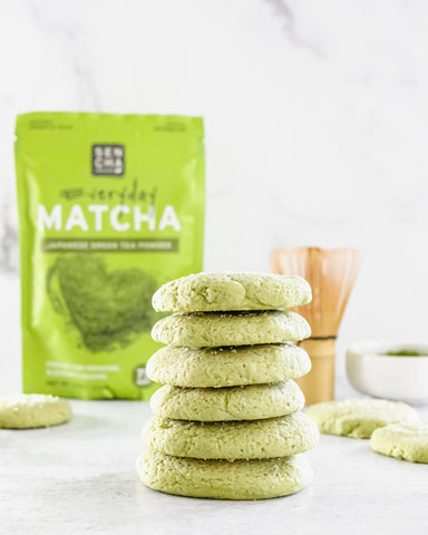 Photo of stacked sugar cookies baked with matcha green tea powder