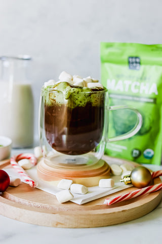 photo of hot chocolate made with matcha green tea powder, with candy canes and Christmas globes in the background