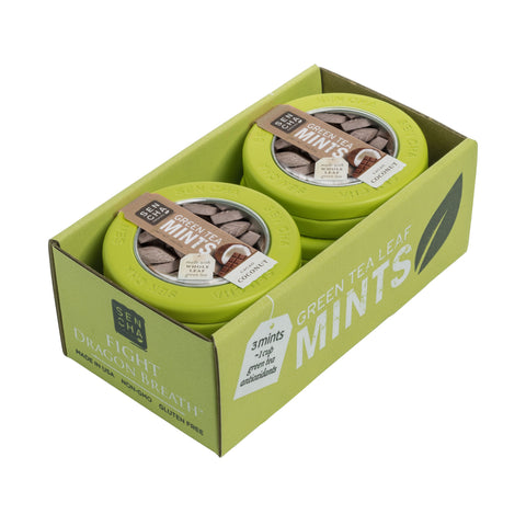 Cacao Coconut, Green Tea Mints, Canister 6 Pack
