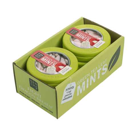 Morning Lychee, Green Tea Mints, Canister 6 Pack