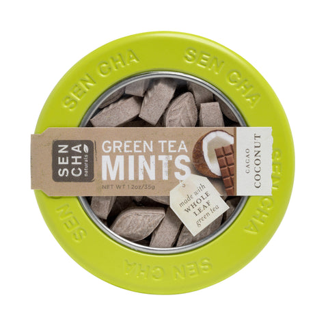 Cacao Coconut, Green Tea Mints, Canister Display Box of 12