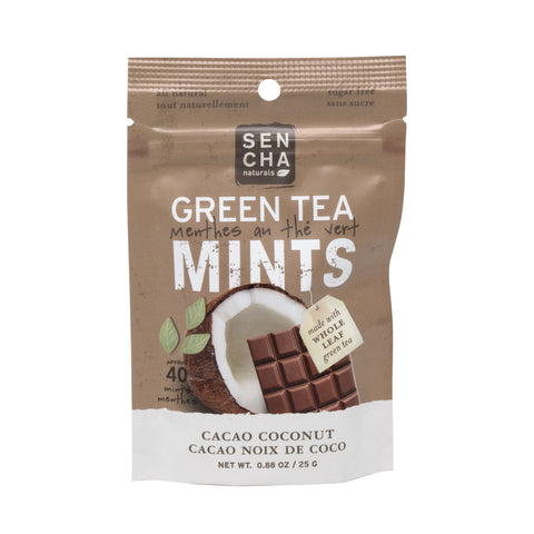 Cacao Coconut, Green Tea Mints, Box of 12 Pocket Mints
