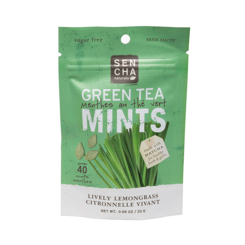 Green Tea Mints - Lively Lemongrass | Box of 12 Pocket Mints