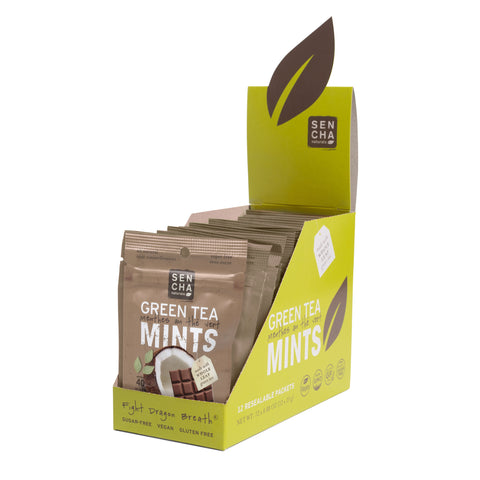 Cacao Coconut, Green Tea Mints, Resealable Packets Box of 12