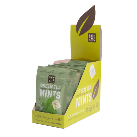 Moroccan Mint, Green Tea Mints, Resealable Packets Box of 12