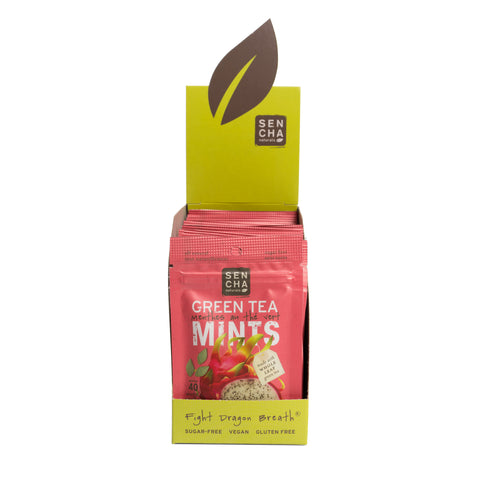 Pink Dragonfruit, Green Tea Mints, Box of 12 Pocket Mints