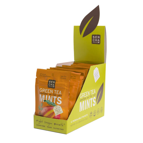 Tropical Mango, Green Tea Mints, Box of 12 Pocket Mints