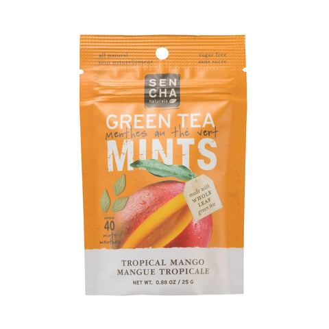 Tropical Mango, Green Tea Mints, Resealable Packets Box of 12