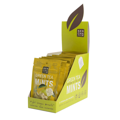 Yuzu Ginger, Green Tea Mints, Resealable Packets Box of 12