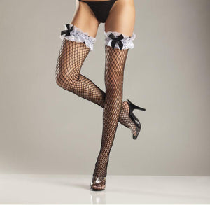 Bewicked Lingerie Spandex Diamond Net Thigh High Ruffle Lace & Satin Bow