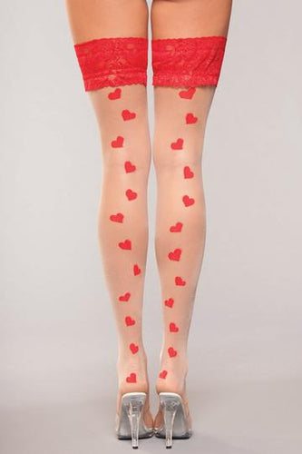 Bewicked Lingerie Lace Top Heart Hold Ups O/S