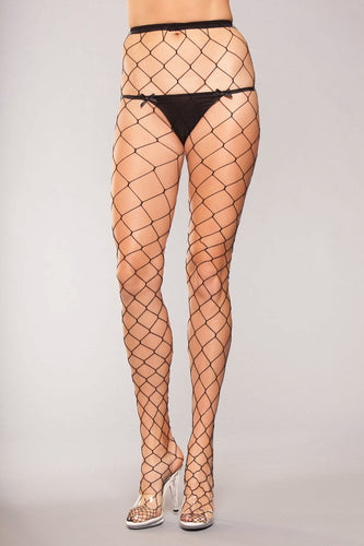 Bewicked Lingerie Fench Net Panty Hose O/S