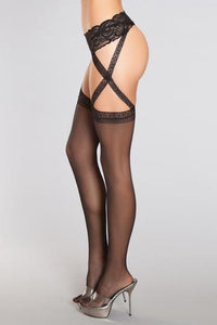 Criss Cross Lace Garter W- Sheer Thigh Highs O/S