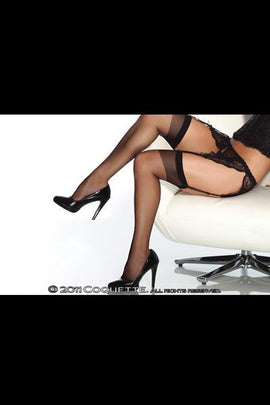 Coquette Lingerie Sheer Thigh High Black Os
