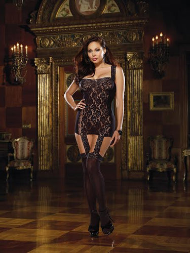 Dream Girl Lingerie Lace Up Back Garter Dress Black Queen Size