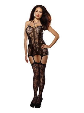 Lace & Fishnet Garter Black O-sq - The Spot Boutique
