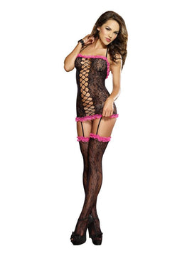 Dream Girl Lingerie Stretch Lace Halter Garter Dress O-s Black-fuschia