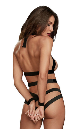 Dream Girl Lingerie Teddy W- Restraints Black Faux Leather O-s