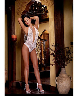 Halter Lace Stretch Teddy White O-s - The Spot Boutique
