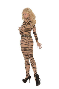 Zebra Print Long Sleeve Body Stocking Queen Size - The Spot Boutique