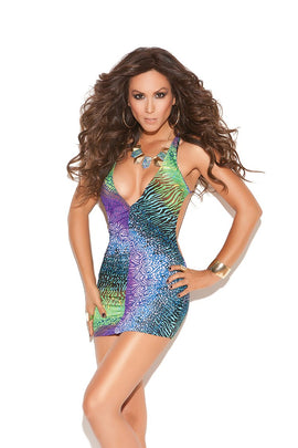 Elegant Moments Lingerie Deep V Mini Dress Multi Color O/S