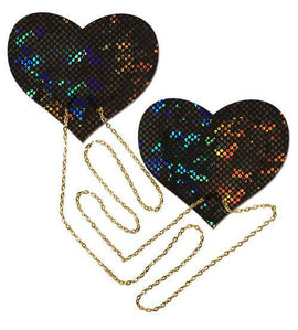 Pastease Black Shattered Disco Ball Heart With Gold Chains Pasties