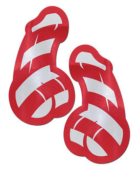Pastease Pastease Red & White Stri Candy Cane Penis Pasties