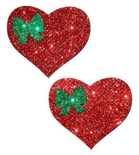 Pastease Pastease Sweety Red Glitter Heart With Green Glitter Bow