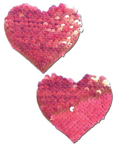 Pastease Pastease Hot Pink & Matte Pink Color Changing Sequin Hearts Pasties