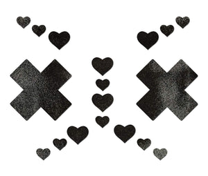 Pastease Liquid Black Plus X Cross With 6 Mini Hearts & 10 Baby Hearts