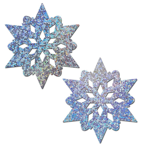 Pastease Silver Glitter Snowflakes Nipple Pasties