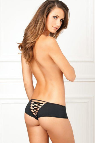 RENE ROFE Crotchless Lace Back Panty Black