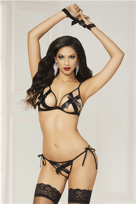 Seven 'til Midnight Shiny Stretch Satin Bra Set Black O-s