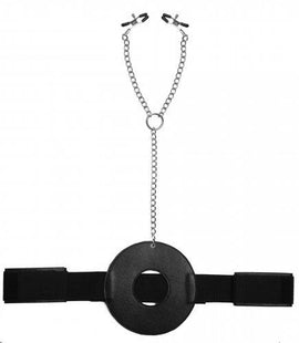 XR Brands Master Series Detained Restraint System W- Nipple Clamps