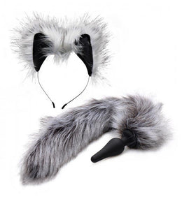 XR Brands Tailz Grey Wolf Tail & Ears Set