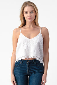 Lady in Lace Cami-White