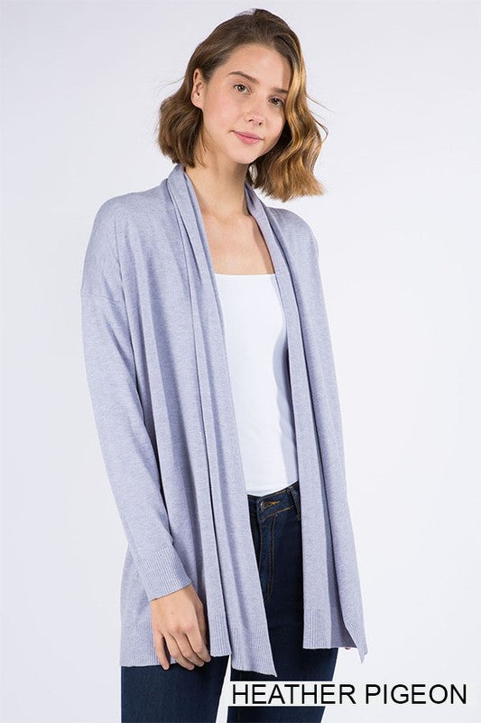 So So Soft Cardigan-Heather Pigeon