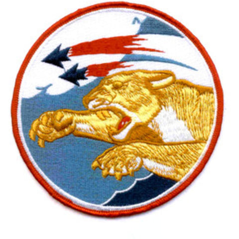 F-103 US Navy Aviation Fighter Squadron One Zero Three Military Patch KOREA ERA - Cat flying with claws out.