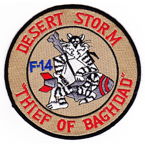 F-14 US NAVY TOMCAT Aviation Air Military Patch DESERT STORM THIEF OF BAGHDAD F-14