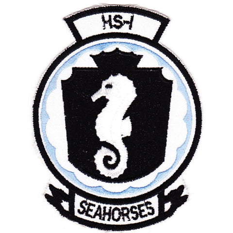 HS-1 Anti-Submarine Warfare Aviation Squadron ONE Military Patch SEAHORSES