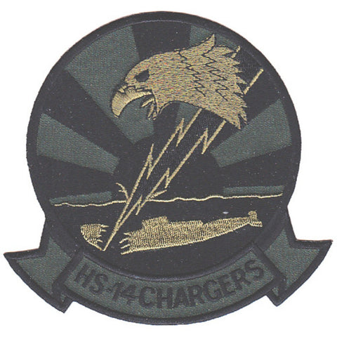 HS-14 Anti-Submarine Wafare Aviation Military Patch CHARGERS OD Green