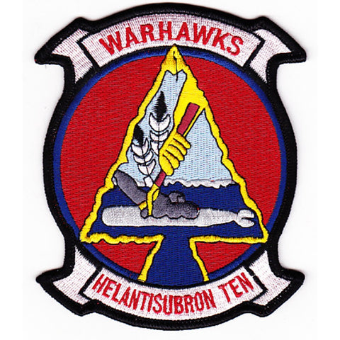 HS-10 Anti-Submarine Warfare Aviation Squadron Military Patch WARHAWKS HELANTISUBRON TEN