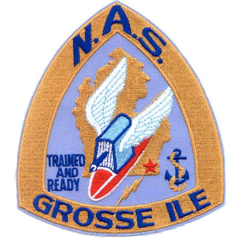 NAS Grosse Ile Michigan Naval Air Station Patch Trained and Ready