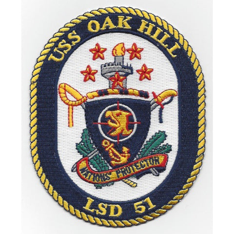 LSD-51 USS Oak Hill Dock Landing Ship Crest Patch