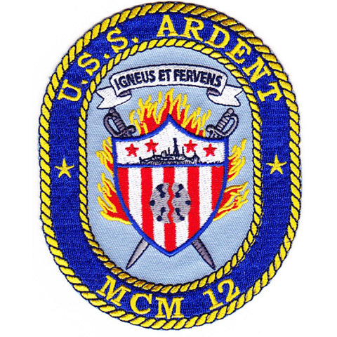 MCM-12 USS Ardent Mine Countermeasures Ship Patch