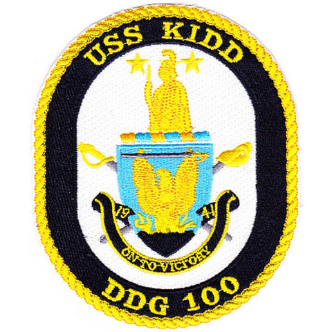 DDG-100 USS Kidd Guided Missile Destroyer Ship Crest Patch